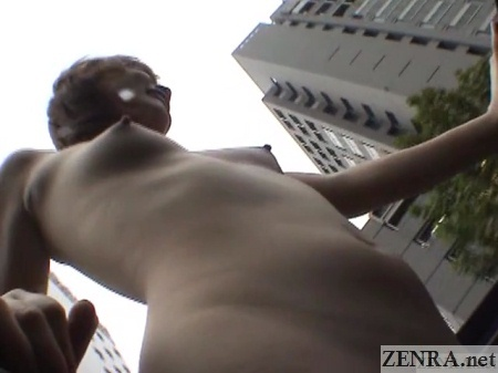 japanese nudist under angle view