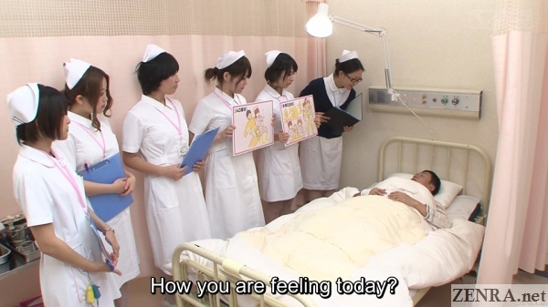 japanese patients assemble in front of patient