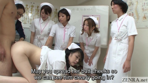 japanese nurses watch sperm collection treatment via coitus