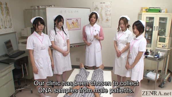 japanese nurses assemble for breast sperm dna sampling