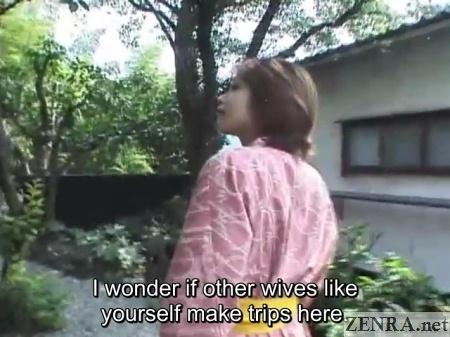 tomoda maki in yukata walks outside to onsen