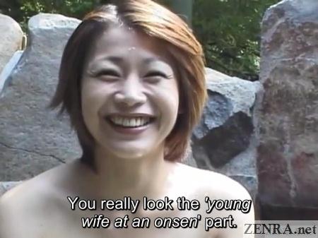 beaming tomoda maki in outdoor onsen