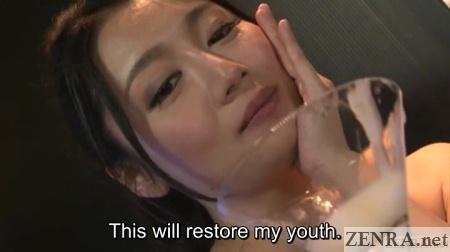 anna okina admires glass full of cum