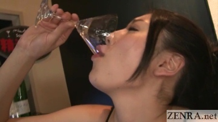 anna okina drinks glass full of cum