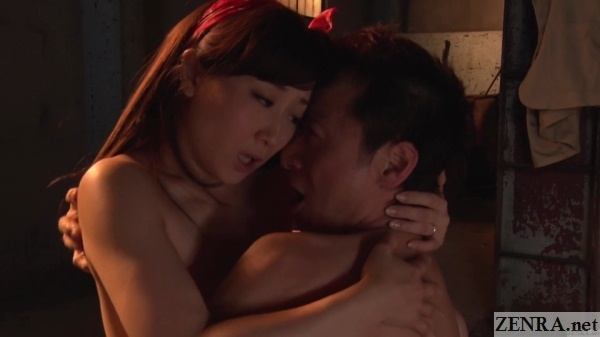 kawakami yuu embraces customer during sex
