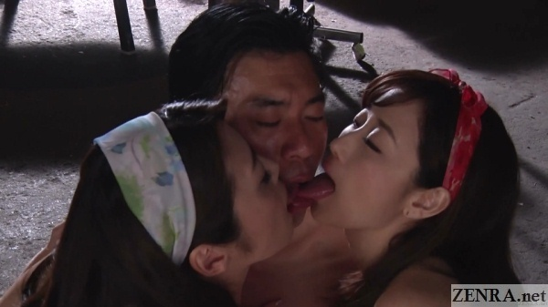 japanese threesome deep kissing