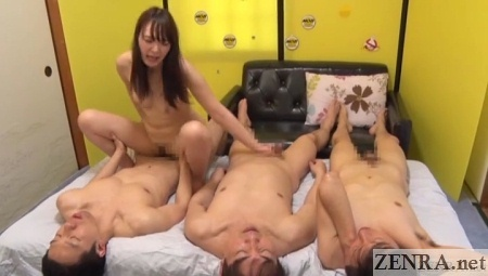cowgirl group sex with bonus handjob by makihara mana