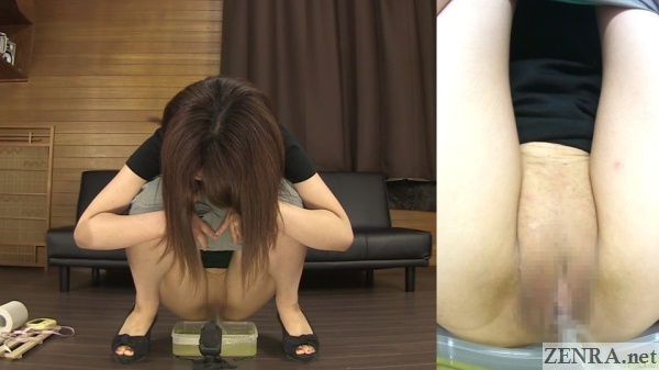 squatting bottomless japanese woman urinates