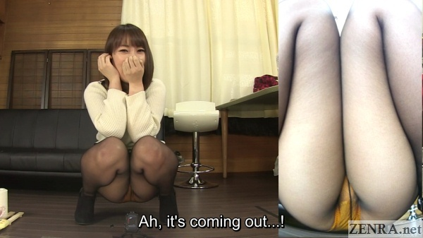 japanese woman starts to pee while squatting