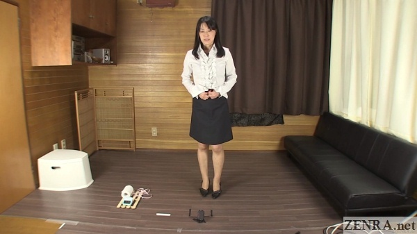 japanese woman tries to hold in pee