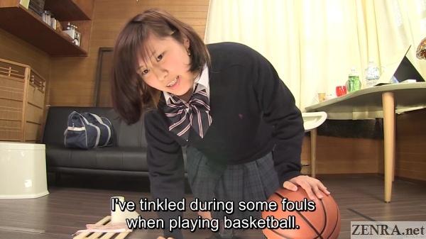 schoolgirl in japan holds in pee