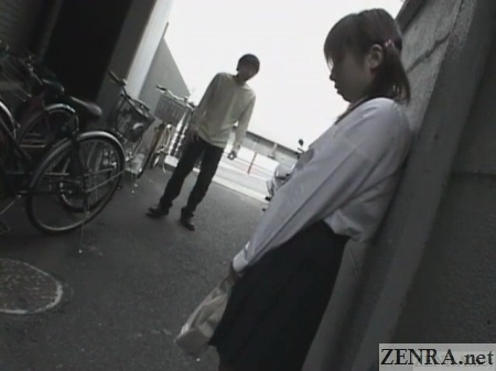 outdoor lonely japanese schoolgirl