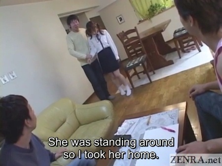 demure japanese schoolgirl escorted to new friends