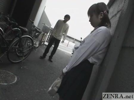outdoor lonely japanese schoolgirl