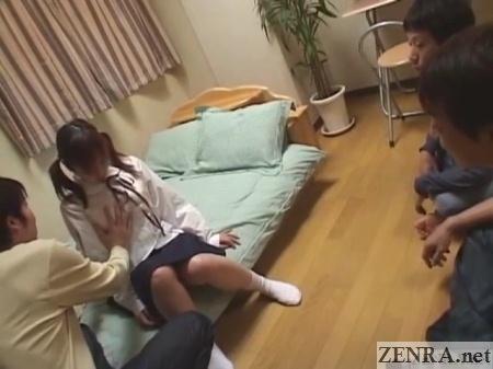 japanese friends watch schoolgirl felt up