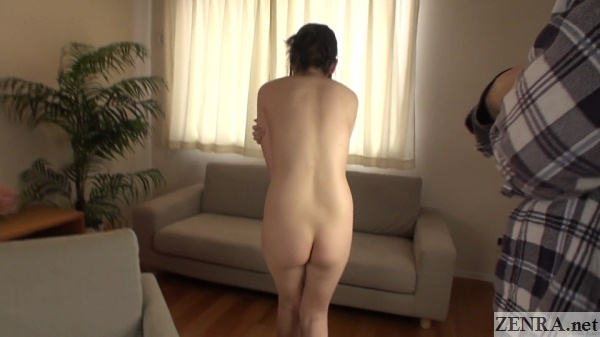 embarrassed stark naked japanese woman rear shot tiny butt