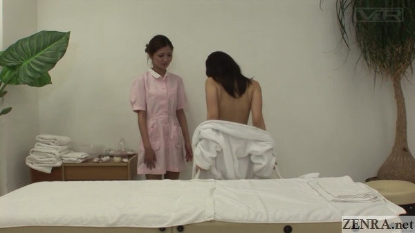 client strips in front of masseuse