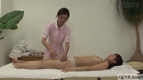 japanese cfnf topless oil massage supine client
