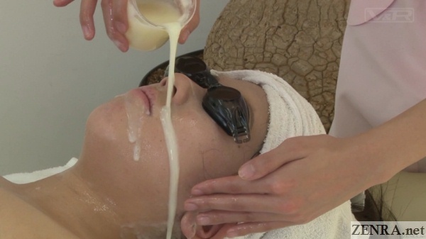 fresh cum poured over face of client for masque