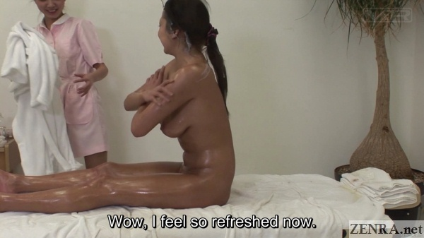 cfnf clothed masseuse with naked gyaru covered in cum