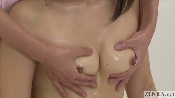 close up japanese oil breast massage
