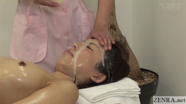 fresh cum poured over face of client at facial massage clinic