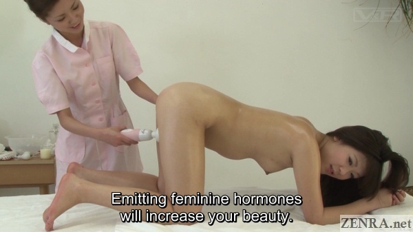 clothed japanese masseuse with on all fours naked client