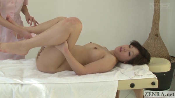 legs spread in the air delicate zone japanese massage