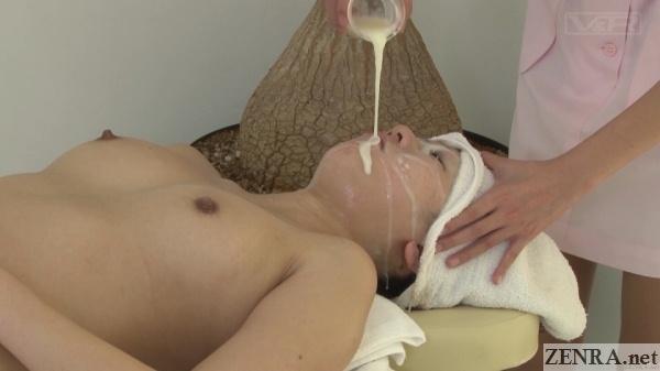 cum poured over face for bizarre massage treatment