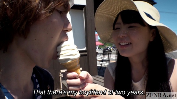 japanese av star nagomi feeding ice cream to boyfriend