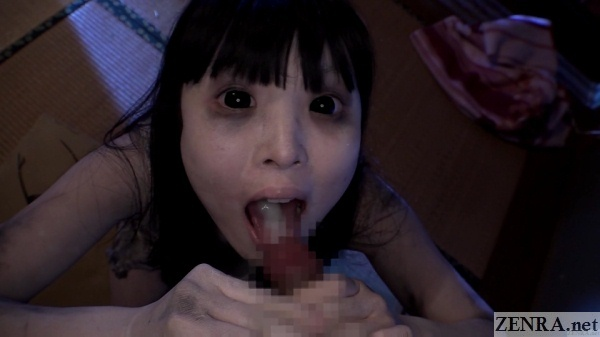 cumshot into mouth of japanese ghost