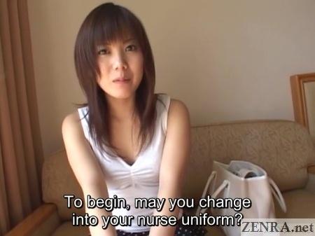 miho asked to change into nurse uniform