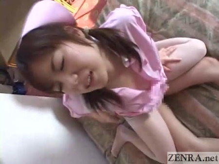 reverse cowgirl sex with japanese nurse