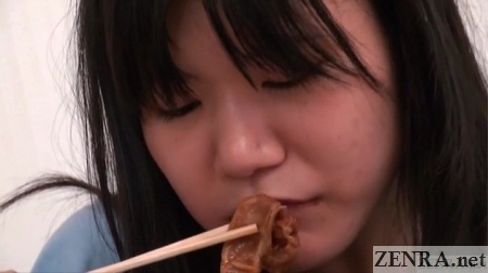 pretty japanese girl eating meat