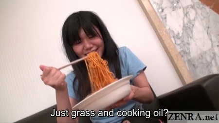 hungry homeless japanese woman about to eat pasta