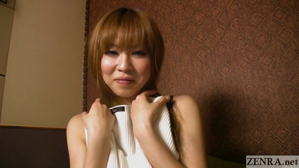 embarrassed half stripped japanese amateur