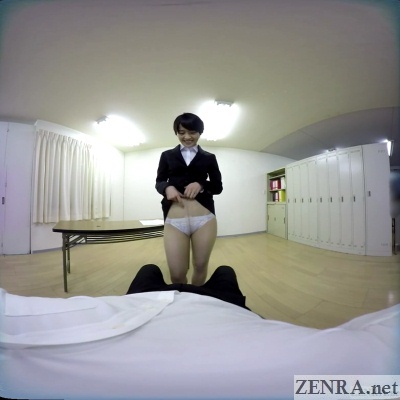 japanese vr office lady flashes panties