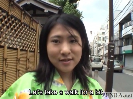 asami fujimoto in green yukata going for walk
