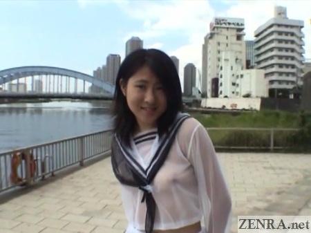 sheer schoolgirl uniform outside