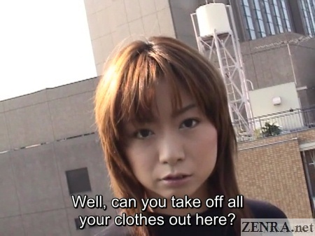 tawny haired japanese woman asked to strip naked on rooftop