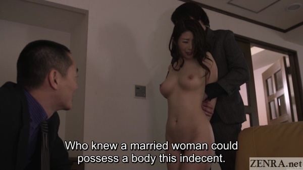 embarrassed and naked ayumi shinoda with clothed men