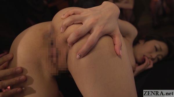 ayumi shinoda spreads butt cheeks wide