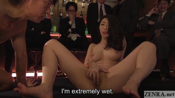 audience watches ayumi shinoda spread and masturbating