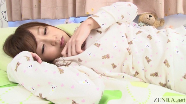 satou mitsu lounges in bed