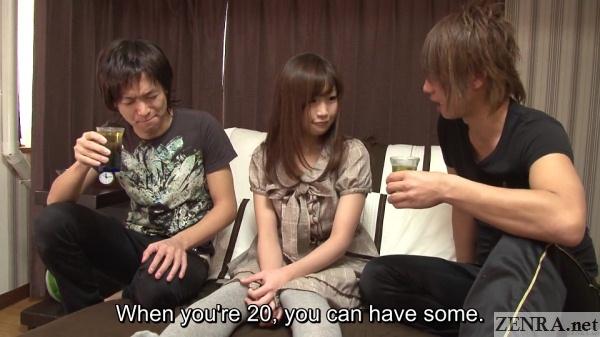 bedroom mitsu satou in between two men