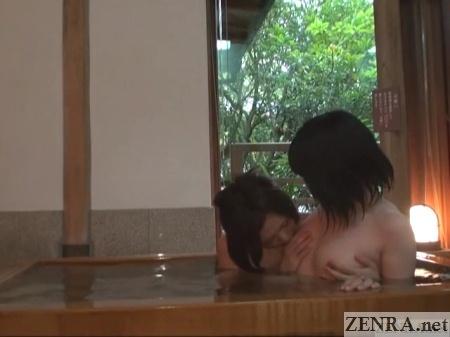 lesbian nipple licking in japanese onsen