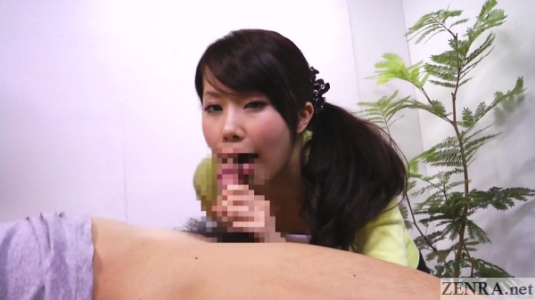 close up japanese tv hostess gives blowjob