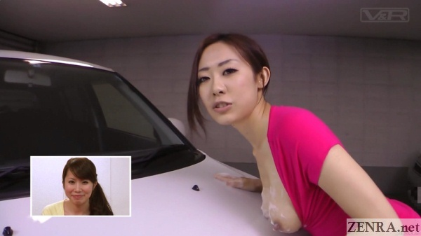 busty japanese woman washes car with tits
