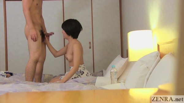 short hair japanese amateur about to give blowjob
