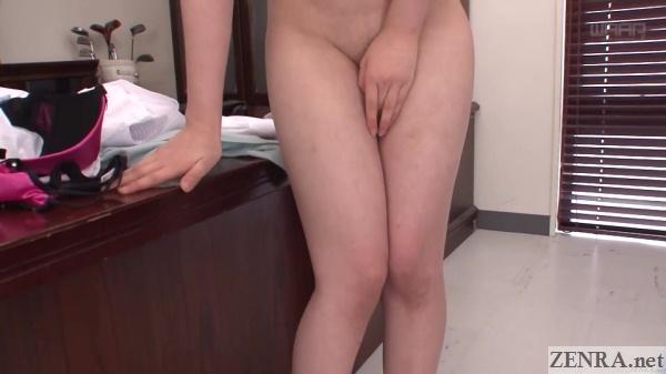 close up embarrassed naked momoka nishina hand over groin